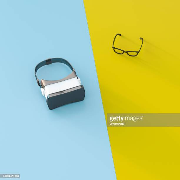 vr glasses next to common glasses, 3d rendering - technology stock illustrations