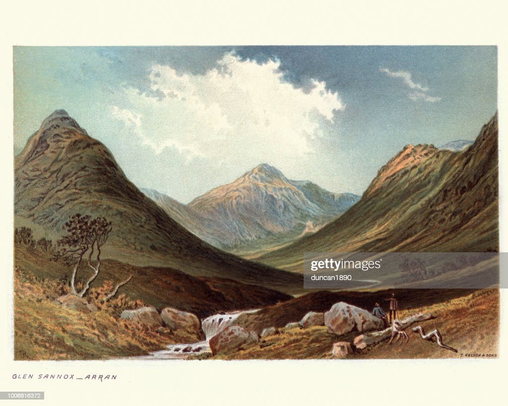 Glen Sannox, Isle of Arran, Scotland, 19th Century : Stock Illustration
