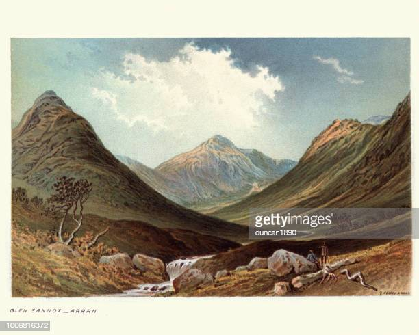 illustrazioni stock, clip art, cartoni animati e icone di tendenza di glen sannox, isle of arran, scotland, 19th century - territorio selvaggio