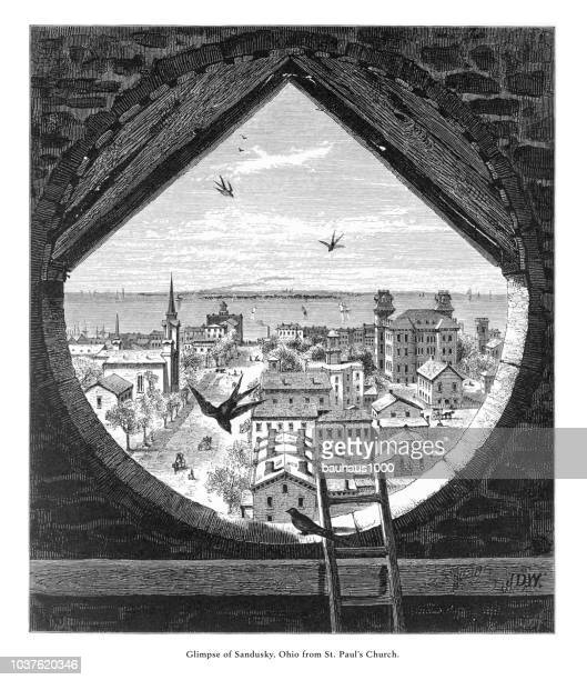 glimpse of sandusky, ohio, united states from st. paul's church, american victorian engraving, 1872 - ohio stock illustrations
