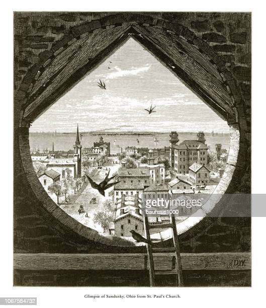 glimpse of sandusky, ohio, united states from st. paul's church, american victorian engraving, 1872 - lake erie stock illustrations, clip art, cartoons, & icons
