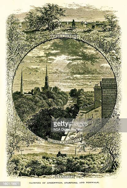 glimpses of greenwich, stamford and norwalk, connecticut - fairfield connecticut stock illustrations, clip art, cartoons, & icons
