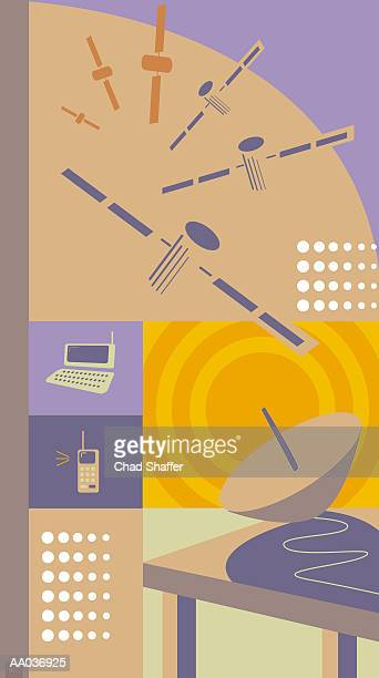 global communications - medium group of objects stock illustrations, clip art, cartoons, & icons