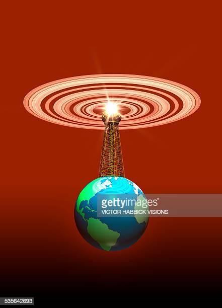 global communications, illustration - communications tower stock illustrations