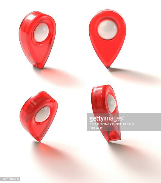 global positioning system markers - four objects stock illustrations