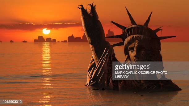 global warming, conceptual illustration - statue of liberty stock illustrations