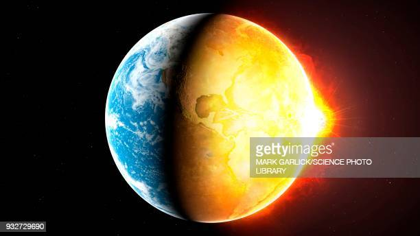 global warming, conceptual illustration - the end stock illustrations