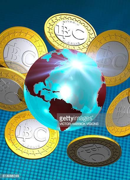 globe and bitcoins, artwork - ビットコイン点のイラスト素材/クリップアート素材/マンガ素材/アイコン素材