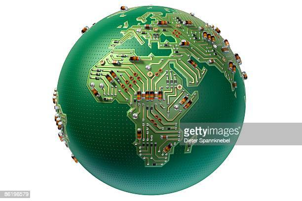Globe as a circuit board shows Europe and Africa
