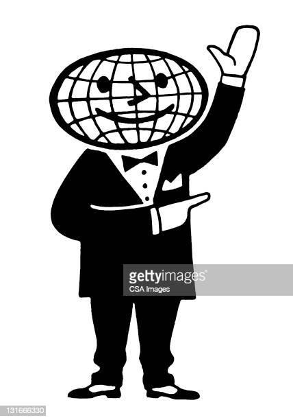 globe head man gesturing - タキシード点のイラスト素材/クリップアート素材/マンガ素材/アイコン素材
