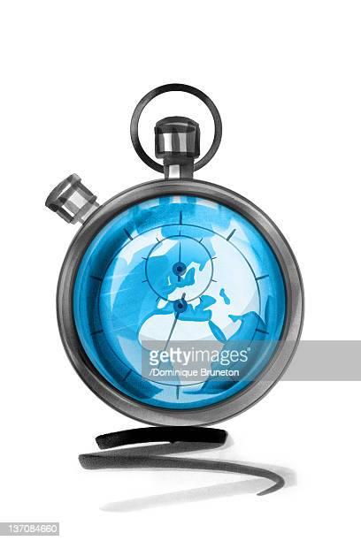 globe in stopwatch - deadline stock illustrations