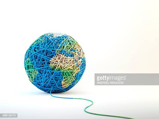 Globe made from string, artwork