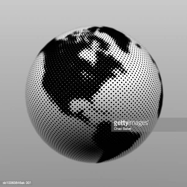 globe made of halftone dots (digitally generated) - digital enhancement stock illustrations