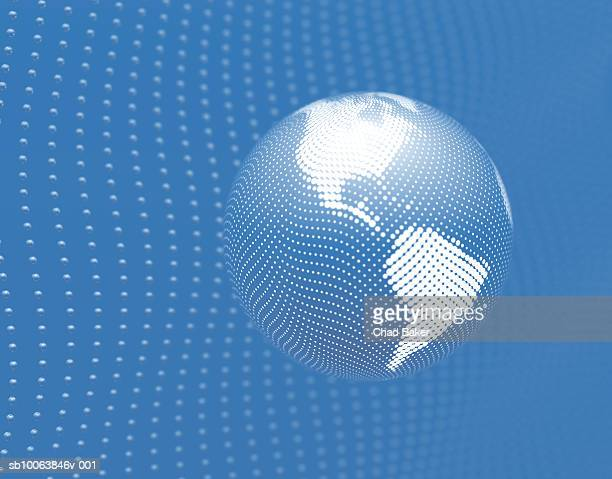 globe made of halftone dots over network of spheres (digitally generated) - spotted stock illustrations