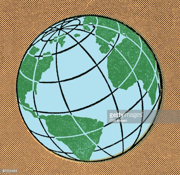 globe showing pacific ocean - 1990 1999 stock illustrations
