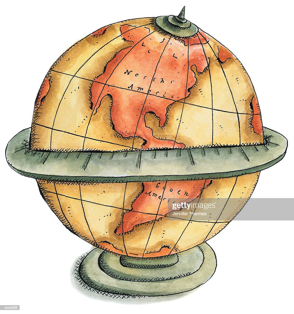Globe Showing Western Hemisphere : Stockillustraties