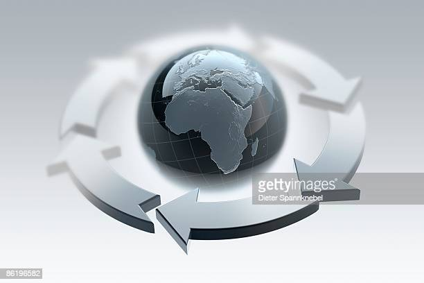 globe shows europe and africa circled by arrows - surrounding stock illustrations, clip art, cartoons, & icons