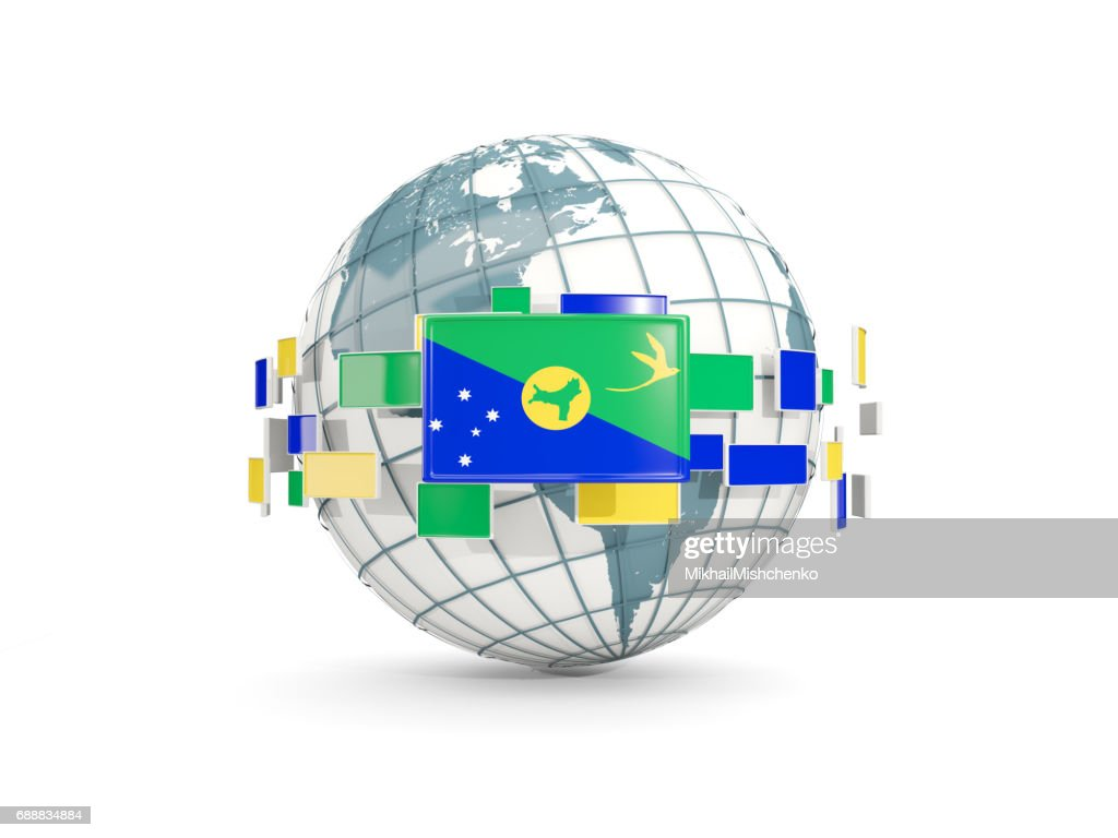Globe With Flag Of Christmas Island Isolated On White Stock ...