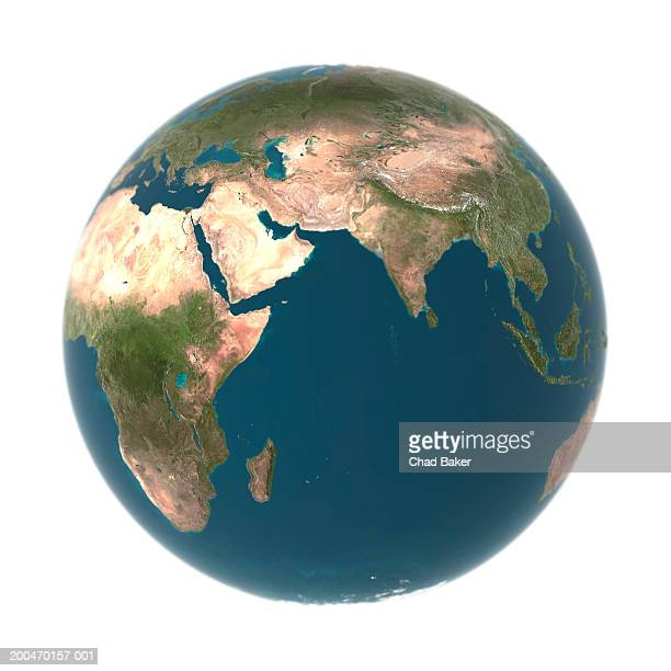 globe with middle east, asia and africa prominent (digital) - white background stock illustrations