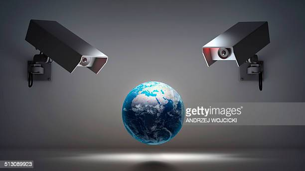globe with security cameras, artwork - big brother orwellian concept stock illustrations, clip art, cartoons, & icons