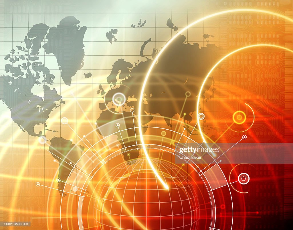 Globe with world map and circuit board in background (Digital) : stock illustration