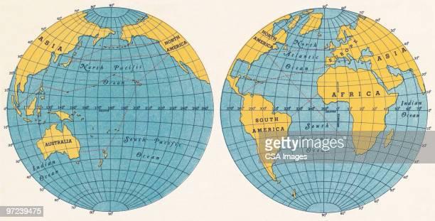 globes - latitude stock illustrations