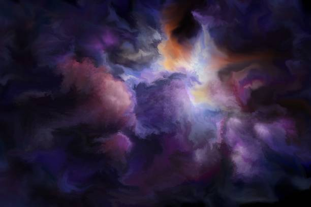 gloomy clouds, painted art background - fantasy stock illustrations