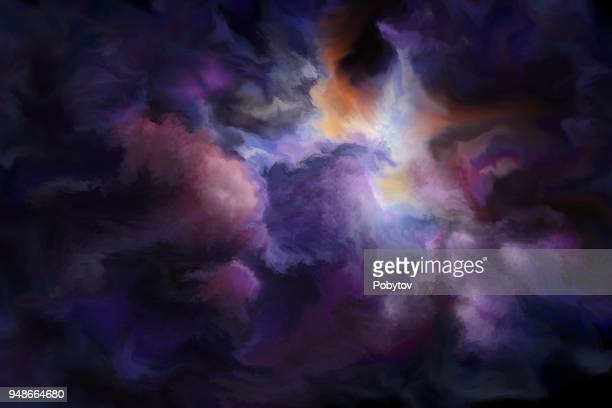 gloomy clouds, painted art background - ethereal stock illustrations, clip art, cartoons, & icons