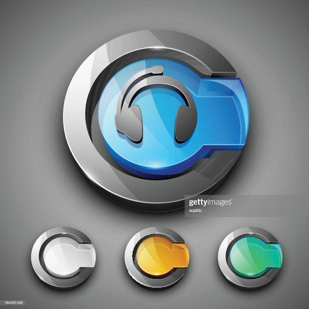 Glossy 3D web 2.0 headphone symbol icon set.