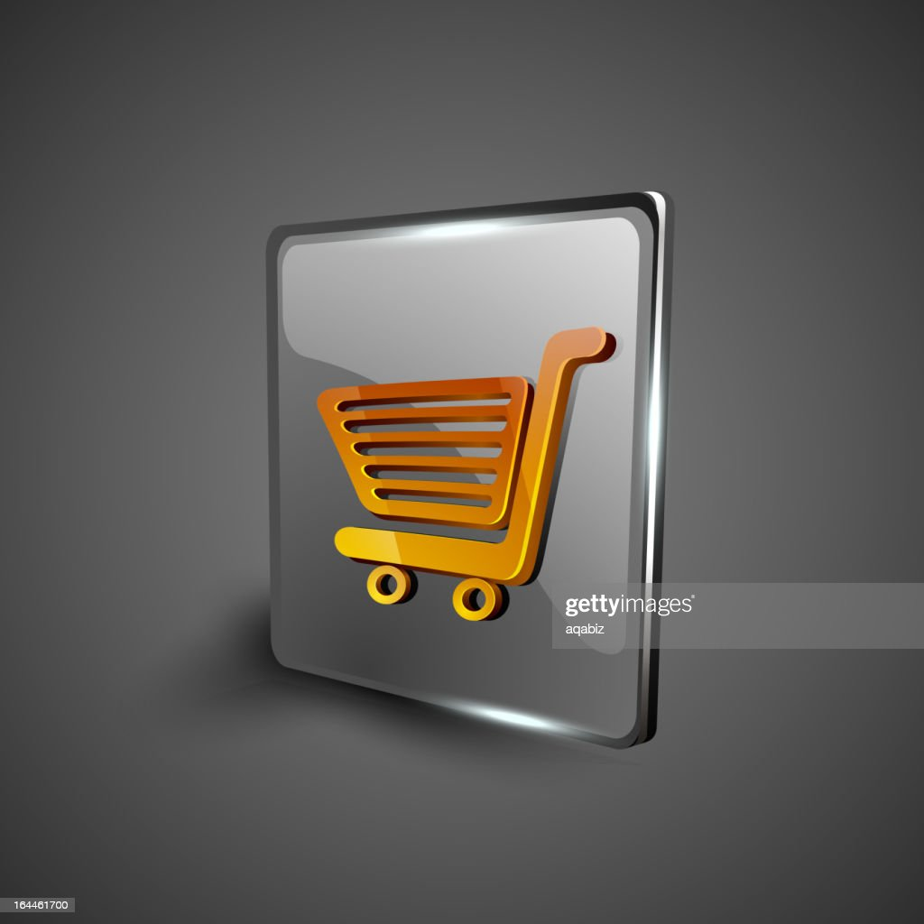 Glossy 3D web 2.0 shopping cart icon set.