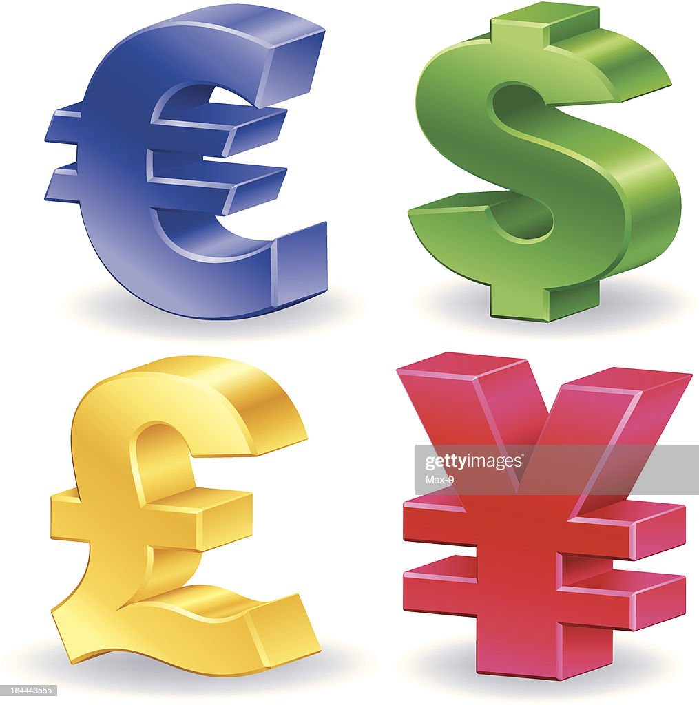 glossy currency symbol