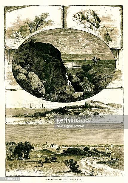 gloucester and rockport, massachusetts - village stock illustrations