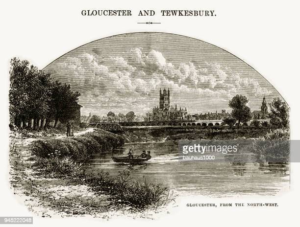 gloucester from the north-west, gloucestershire, england victorian engraving, 1840 - gloucester england stock illustrations
