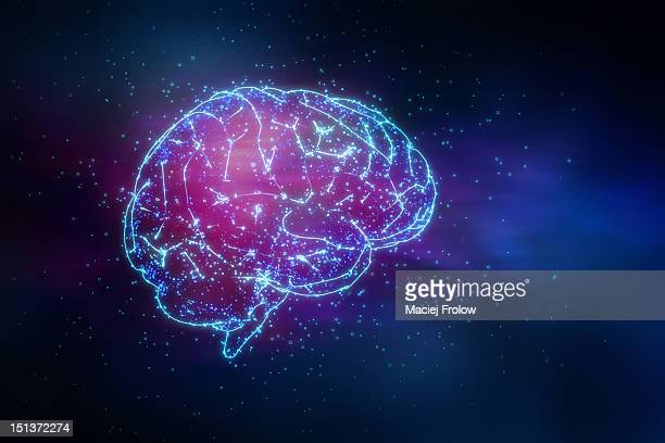 Glowing brain drawing with light particles around