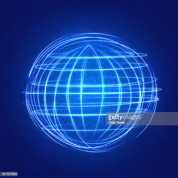 glowing globe from arcs of light - digital enhancement stock illustrations