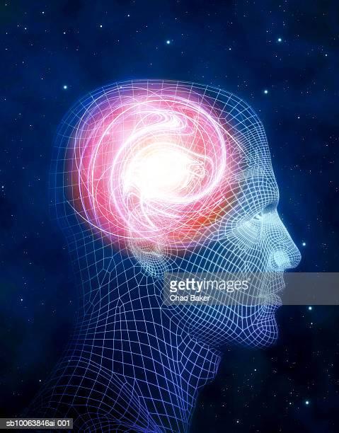 ilustrações, clipart, desenhos animados e ícones de glowing swirling light inside wire frame of human head (digitally generated) - cabeça humana
