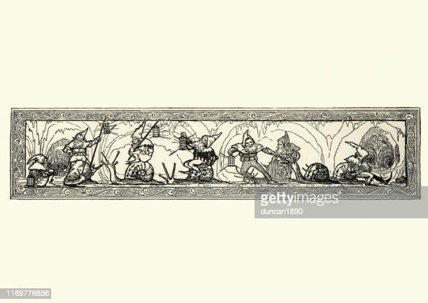 ilustrações de stock, clip art, desenhos animados e ícones de gnomes riding garden snails, fairytale, victorian, 19th century - caracol de jardim