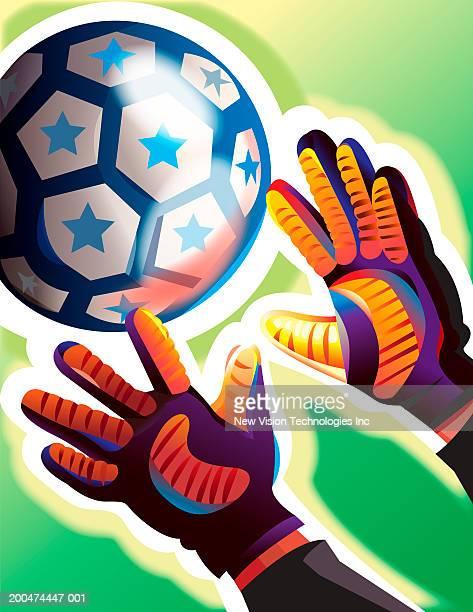 ilustraciones, imágenes clip art, dibujos animados e iconos de stock de goalie reaching for soccer ball, close-up of hands - guantes de portero