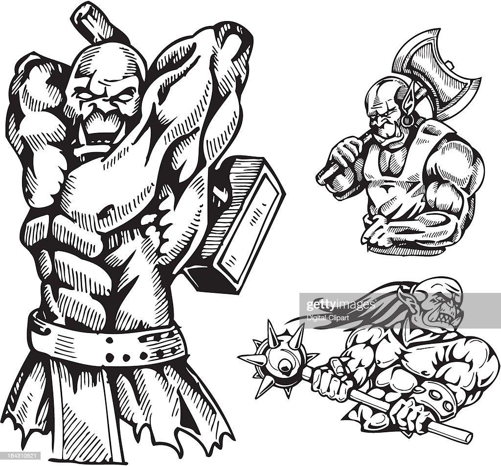 Goblins. Vector illustration ready for vinyl cutting.