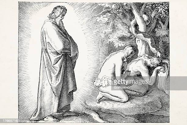 God discovering Eve offering apple to Adam