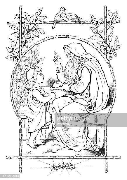 God instructing a child - Victorian drawing