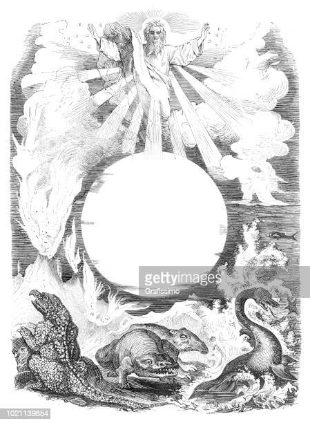 god is creating the world calling the winds 1872 - biblical event stock illustrations