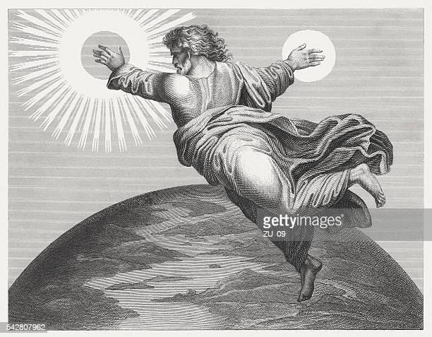 illustrations, cliparts, dessins animés et icônes de dieu furieux soleil et de la lune (genèse 1), publié depuis 1841 - dieu