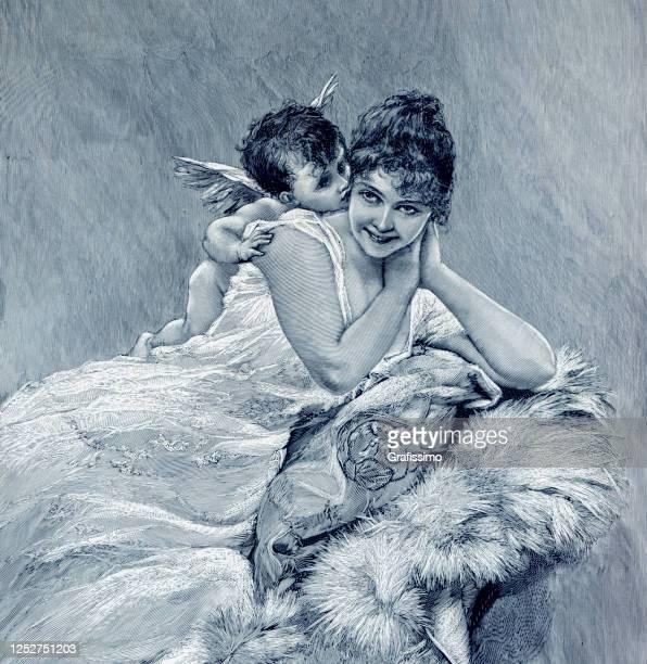 stockillustraties, clipart, cartoons en iconen met god van liefde cupido die mooie vrouwenillustratie 1901 kust - cupidon