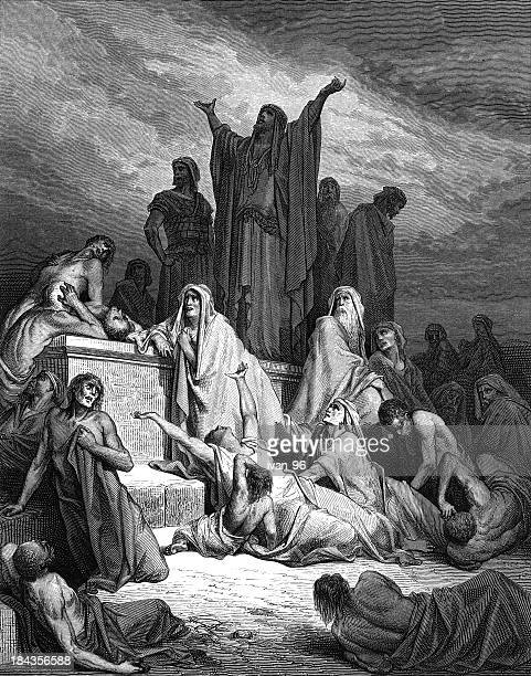 god saves jerusalem from the plague - bubonic plague stock illustrations