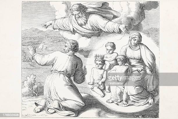 ilustrações, clipart, desenhos animados e ícones de deus falar de abraham e sarah - religião