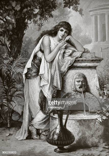 goddess at the fountain - 1896 - fountain stock illustrations, clip art, cartoons, & icons