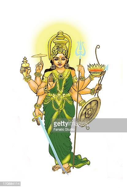 goddess durga - hinauf bewegen stock illustrations