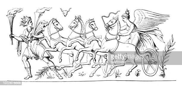 ilustraciones, imágenes clip art, dibujos animados e iconos de stock de hermana de eos diosa de helios - roman goddess