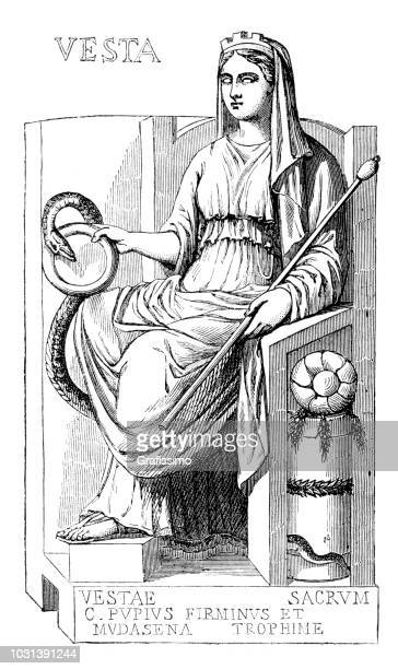goddess of bakery vesta roman god illustration - roman goddess stock illustrations, clip art, cartoons, & icons